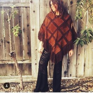 Incredible Leather and Crochet Vintage 70s Poncho